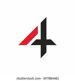 Number 4 logo icon design template elements. Vector illustration