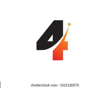 Number 4 logo or symbol template design