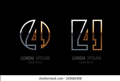 Number 4 logo. Vector logotype design.