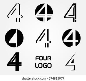 Number 4 logo.Vector logo design.