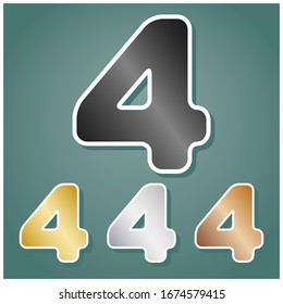 Number 4 sign design template element. Set of metallic Icons with gray, gold, silver and bronze gradient with white contour and shadow at viridan background. Illustration.