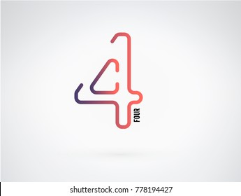 Number 4 vector font alphabet, modern dynamic flat design with brilliant colorful gradient smooth color for your unique elements design ; logo, corporate identity,  application, creative poster & more