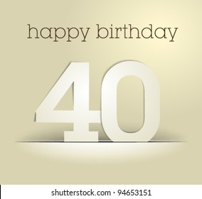 number 40 / birthday card vector / simple design
