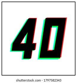 Number 40, forty vector desing logo.Dynamic, split-color, shadow of  number red, green, blue in black frame on white background.For social media,design elements, anniversary celebration greeting
