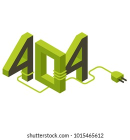 Number 404 as symbol of webpage loading error in isometric style on white background