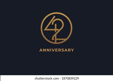 Number 42 logo, gold line circle with number inside, usable for anniversary and invitation, golden number design template, vector illustration