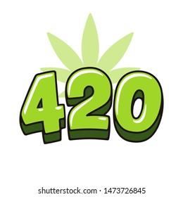 Number 420 hand drawn lettering with marijuana leaf. Symbol in cannabis smoking culture, April 20 celebration.
