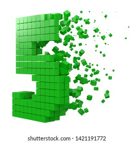 number 5 shaped data block. version with green cubes. 3d pixel style vector illustration. suitable for blockchain, technology, computer and abstract themes.