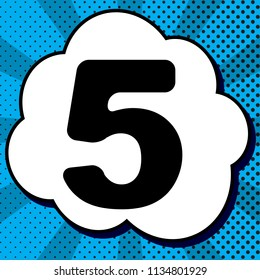 Number 5 sign design template element. Vector. Black icon in bubble on blue pop-art background with rays.
