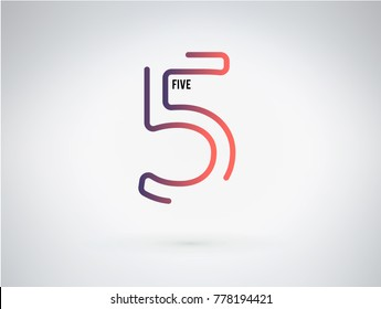 Number 5 vector font alphabet, modern dynamic flat design with brilliant colorful gradient smooth color for your unique elements design ; logo, corporate identity,  application, creative poster & more