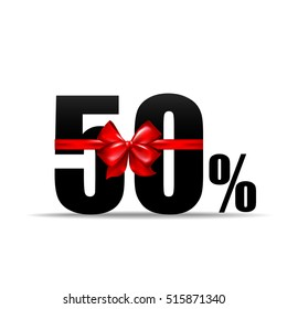 Number 50 percent for discount and sale with red ribbon vector illustration eps 10