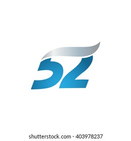 number 52 swoosh design template logo blue gray