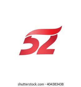 number 52 swoosh design template logo red