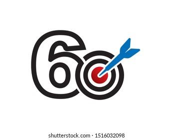 Number 6 or 60 logo or symbol template design