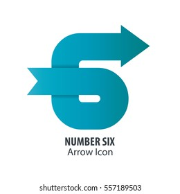 Number 6 & G and Arrow Icon Logo