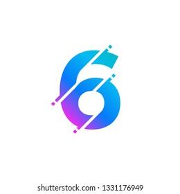 Number 6 Glitch Style Numeric Alphabet Numerical Logo Vector