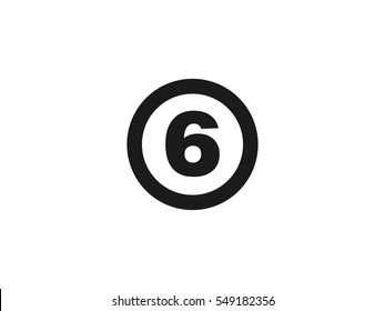 Number 6 icon vector illustration on white background