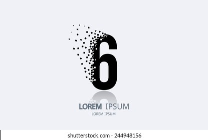 Number 6 logo. Vector logotype design.