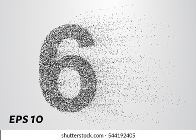 number 6 from the particles. The number 6 consists of circles and points. Vector illustration.
