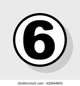 Number 6 sign design template element. Vector. Flat black icon in white circle with shadow at gray background.