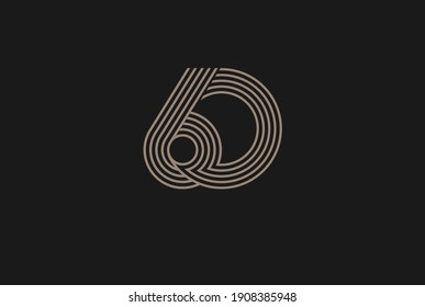 Number 60 Logo, Monogram Number 60 logo multi line style, usable for anniversary and business logos, flat design logo template, vector illustration