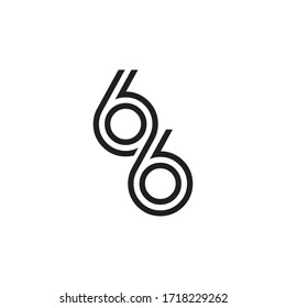 Number 66, logo icon design template vector.