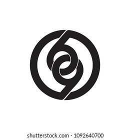 number 69 linked circle monogram design logo