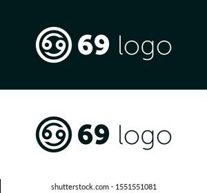 number 69 logo design template element