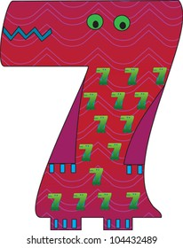 Number 7 from the Crazy Creature Alphabet set, featuring vibrant colors and cute animal characters