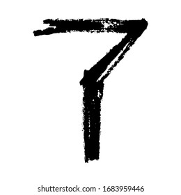 The number 7. Grunge ink alphabet, isolated on white background. Hand drawn with ink. Vector illustration.