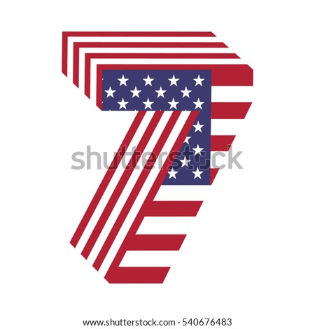 Number 7 Letter 3 D American Flag Stock Vector (Royalty Free
