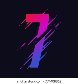 Number 7 with liquid splash and drops, abstract colorful digits, ink mathematic symbol, stylized numeral, dynamic paint trail font. Vector