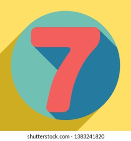 Number 7 sign design template element. Sunset orange icon with llapis lazuli shadow inside medium aquamarine circle with different goldenrod shadow at royal yellow background.