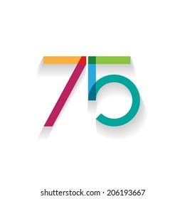 number 75 in flat design