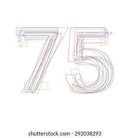 number 75 in outline