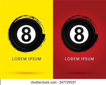 Number 8, Billiards ball,snooker, designed using grunge brush , logo, symbol, icon, graphic, vector.