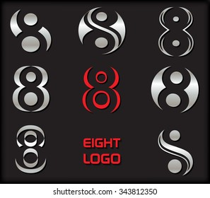 Number 8 logo. Number eight logotype design. Vector illustration.