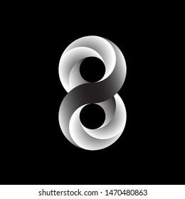 Number 8 logo on black background.