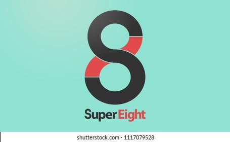 Number 8 logo. Vector illustration
