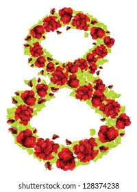 Number 8 made from red roses and green leaves on white background.