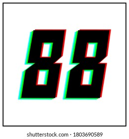 Number 88, eighty eight vector desing logo.Dynamic, split-color, shadow of  number red, green, blue in black frame on white background.For social media,design elements, anniversary celebration