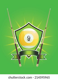Number 9 billiard shield emblem vector