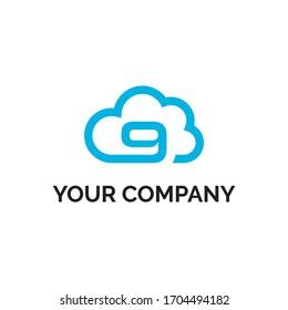 number 9 cloud modern logo vector