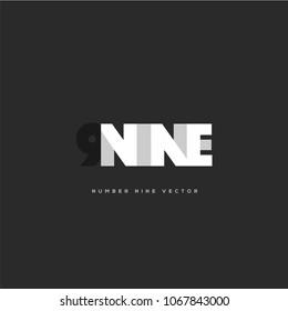 Number 9, Digit Nine letter vector template.