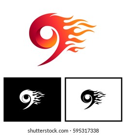 Number 9 Logo With Fire Shape In Red Color