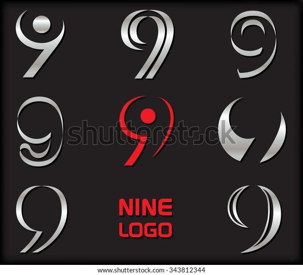 Number 9 logo. Number nine logotype design. Vector illustration.