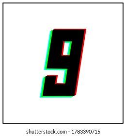 Number 9, nine vector desing logo.Dynamic, split-color, shadow of  number red, green, blue in black frame on white background.For social media,design elements, anniversary celebration greeting