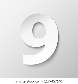 The number 9 in paper style. Vector illustration with a realistic shadow