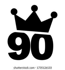 Number 90 with a crown on the top vector illustration - ninetieth birthday graphic design clip art
