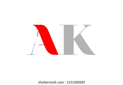 number ak a k logo design with grey red colors suitable for a company or business